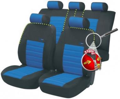 Komplett Set ZIPP IT Universal PES Jersey Auto Sitzbezüge blau 8-teilig, 30 Grad waschbar, Rücksitzbankbezug 5-teilig