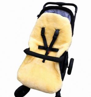 warmer Baby Winter Lammfell Fußsack schwarz waschbar, für Kinderwagen, Buggy, ca. 86x47 cm, 5-Punkt-Gurtschlitze - Vorschau 2