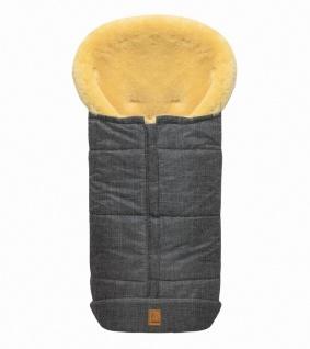 großer Baby Premium Winter Lammfell Fußsack grau meliert waschbar, Kinderwage...