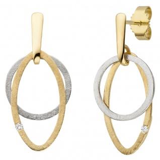 Ohrhänger 585 Gelbgold Weißgold bicolor eismatt 2 Diamanten Brillanten