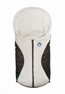 molliger Baby Winter Fleece Fußsack moccabraun, für Tragschalen, Autositze, ca. 79x39 cm, warm wattiert
