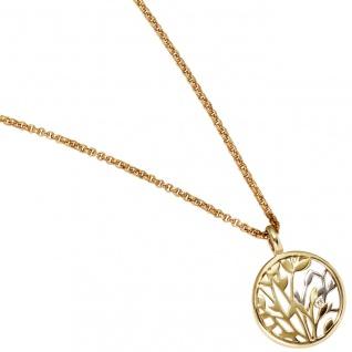 Anhänger rund 585 Gold Gelbgold Weißgold bicolor 1 Diamant Brillant 0, 02ct.