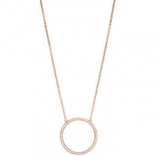 Collier Halskette 925 Silber rotgold vergoldet mit Zirkonia 45 cm Kette - Vorschau 2