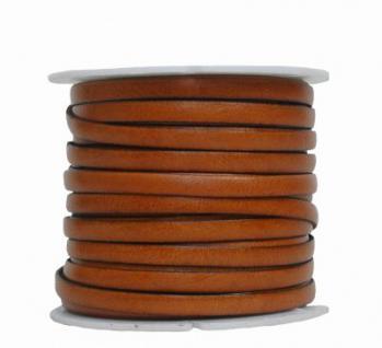 Ziegenleder Lederriemen, Lederband flach hellbraun, Kanten schwarz gefärbt, Länge 25 m, Breite ca. 5 mm, Stärke ca. 1, 0 mm
