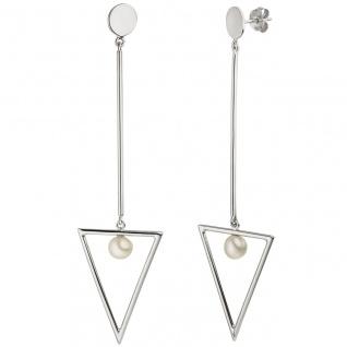 Ohrhänger Dreieck 925 Sterling Silber 2 Süßwasser Perlen Ohrringe Ohrstecker