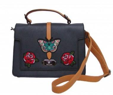Angel kiss FLOWER kleine freche Handtasche mit Schmetterling blau/gelb, Fashion Strap INKA Design, 25x19x10 cm