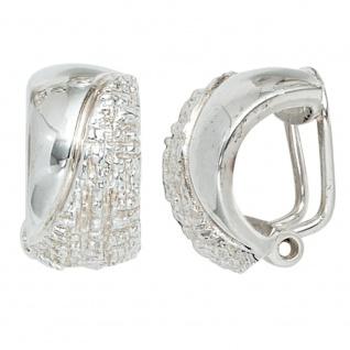 Ohrclips 925 Sterling Silber rhodiniert gehämmert Ohrringe Clips