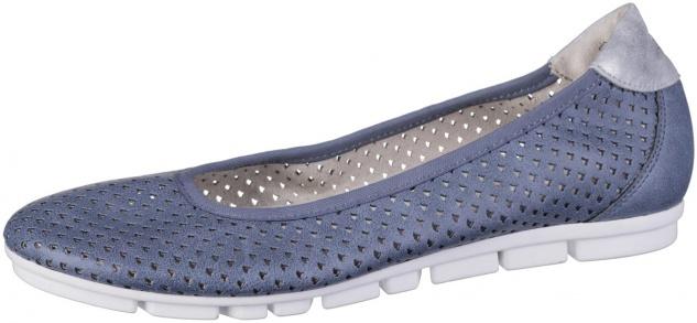S.OLIVER Damen Leder Imitat Ballerinas blue, weiche Soft Foam Decksohle