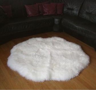 Fellteppiche naturweiß rund, Ø ca. 140 cm, 30 Grad waschbar, Haarlänge ca. 70 mm