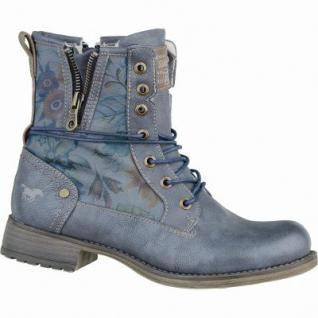 Mustang coole Damen Winter Synthetik Boots blau grau, Blumenprint, Warmfutter, warme Mustang Decksohle, 1637223/37