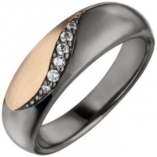 Damen Ring 925 Sterling Silber schwarz und rosé gold bicolor 6 Zirkonia