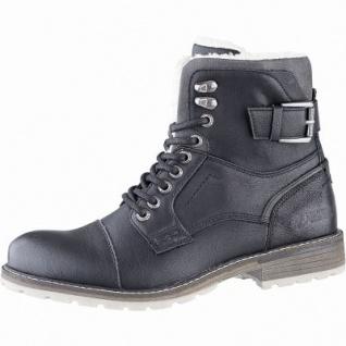 TOM TAILOR sportliche Herren Leder Imitat Winter Boots schwarz, 14 cm Schaft, molliges Warmfutter, warmes Fußbett, 2541121