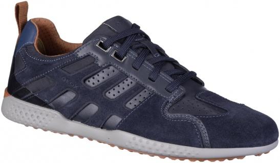 GEOX Herren Leder Sneakers navy, Meshfutter, herausnehmbares Geox Leder Fußbett