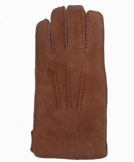 Herren Fingerhandschuhe Lammfell camel, Fellhandschuhe camel, Größe 8