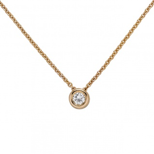 Collier Kette mit Anhänger 585 Gold Rotgold 1 Diamant Brillant 0, 25 ct. 45 cm