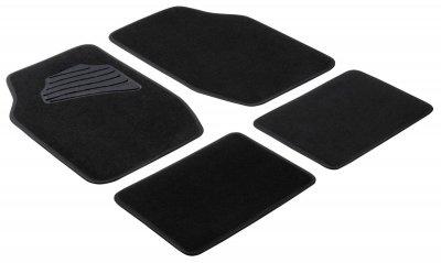 Komplett Set Universal Auto Fußraum Matten Matrix schwarz 4-teilig, Anti Slip, rutschfest, Autoteppiche, Auto Fußmatten