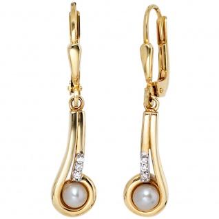 Boutons 333 Gold Gelbgold 2 Süßwasser Perlen 6 Zirkonia Ohrringe Ohrhänger