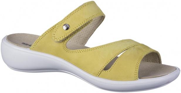 ROMIKA Ibiza 110 Damen Leder Pantoletten gelb, Klettverschluss, weiches Fußbe...