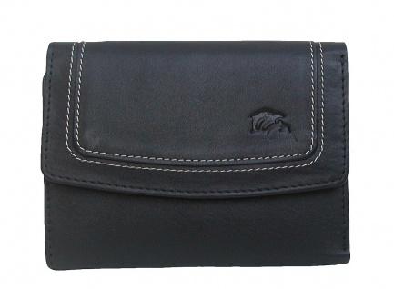 Dolphin handliche Damen Leder Geldbörse schwarz, 8xCC, 1 Scheinfach, viele Fä...