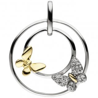 Anhänger Schmetterlinge 925 Sterling Silber bicolor vergoldet 24 Zirkonia