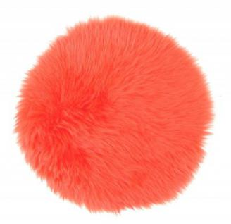 runde Sitzauflage aus australischen Lammfellen, Fellkissen orange, Ø ca. 45 cm, waschbar, Haarlänge ca. 70 mm - Vorschau 2