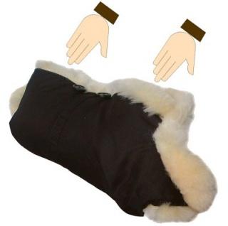 warmer Universal Lammfell Kinderwagen Handwärmer, Muff schwarz, medizinisch gegerbt, ca. 60x50 cm, 30 mm geschoren, waschbar