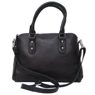 Dolphin Damen Leder Shopper schwarz, Leder Business Tasche, 4 Fächer, ca. 32x26x9 cm
