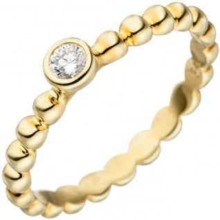 Damen Ring Kugel 925 Sterling Silber gold vergoldet 1 Zirkonia Kugelring