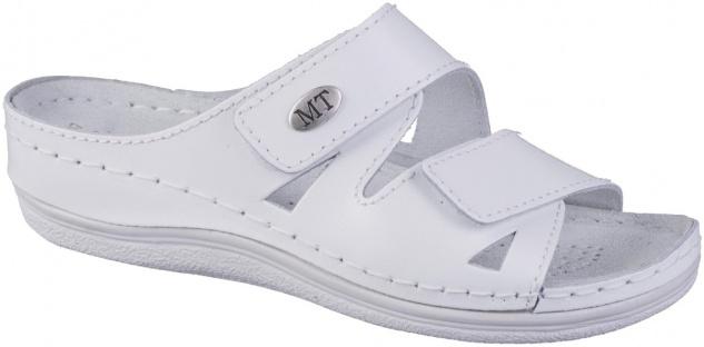 MARCO TOZZI Damen Leder Pantoletten white, Klettverschluss, softe Leder Decks...