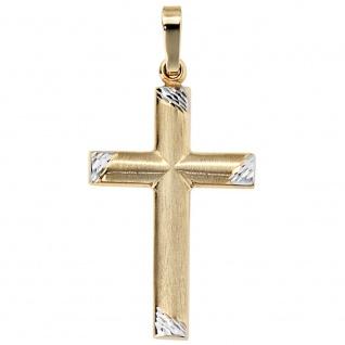 Anhänger Kreuz 333 Gold Gelbgold bicolor matt Kreuzanhänger Goldkreuz