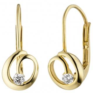Ohrhänger 333 Gold Gelbgold 2 Zirkonia Ohrringe Boutons Goldohrringe