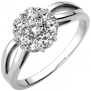 modischer Silber Damen Ring, 925er Sterling Silber mit 8 Zirkonias, Damen Sil...