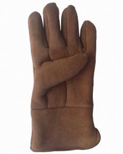 Herren Velourleder Lammfell Fingerhandschuhe aus Fellstücken hellbraun, Herren Fell Handschuhe, Größe 10 - Vorschau 2