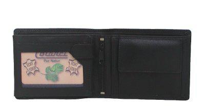 Bianci Herren Leder Kombibörse schwarz, Fettleder, Innenriegel, 6xCC, 5 x Ausweis, EK-Chip, ca. 12x9, 5 cm