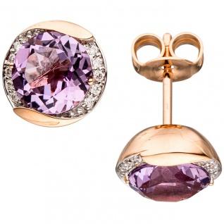 Ohrstecker rund 585 Gold Rotgold 20 Diamanten 2 Amethyste lila violett Ohrringe