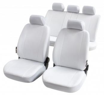 Komplett Set Universal Polyester Auto Sitzbezüge Nerja weiss 8-teilig, 30 Grad waschbar, Rücksitzbankbezug 5-teilig