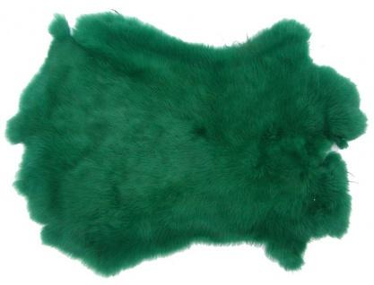 Kaninchenfelle dunkelgrün gefärbt, ca. 30x30 cm, Felle vom Kaninchen mit seid...