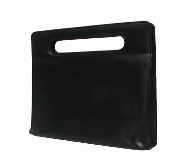 elegante Leder Damen Dokumentenmappe schwarz, für DIN A4, ca. 40x34 cm