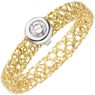 Damen Ring geflochten 750 Gold Gelbgold 1 Diamant Brillant 0, 10ct. Diamantring