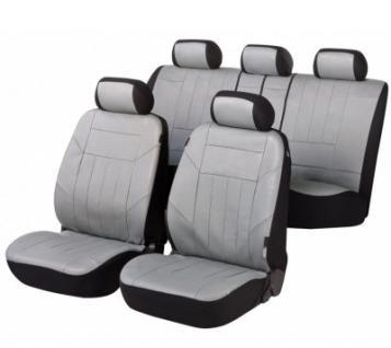 Universal Soft Kunstleder Auto Sitzbezüge grau, 8-teilig, Komplett Set