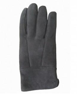 Damen Velourleder Lammfell Fingerhandschuhe lang aus Fellstücken dunkelgrau, Damen Fell Handschuhe, Größe 7, 5
