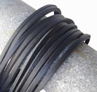 10 Stück Docksider Vierkant Rindleder Lederriemen dunkelblau, Länge 120 cm, S...