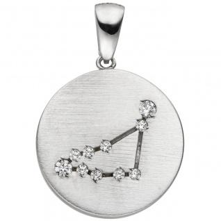 Anhänger Sternzeichen Steinbock 925 Sterling Silber matt 10 Zirkonia Silbera