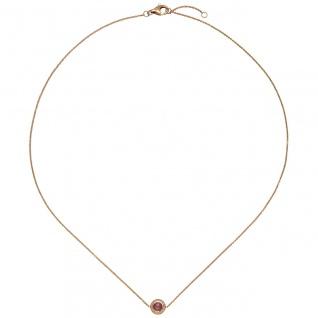 Collier Halskette 585 Gold Rotgold 1 Turmalin pink 16 Diamanten Brillanten 42 cm