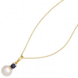 Anhänger 585 Gold Gelbgold Weißgold 1 Süßwasser Perle 1 Safir Perlenanhänger