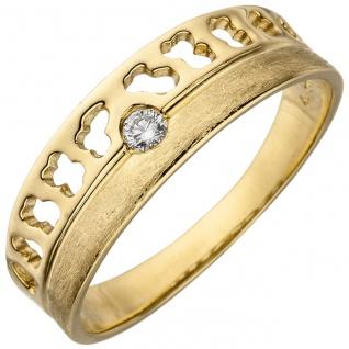 Damen Ring 585 Gold Gelbgold eismatt 1 Diamant Brillant 0, 05ct. Diamantring
