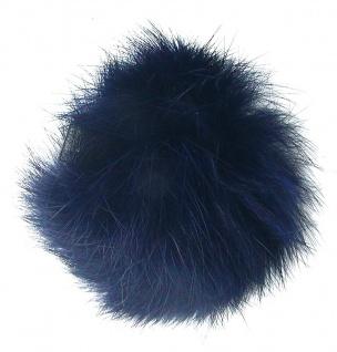 Echt Kaninchenfell Fellbommeln dunkelblau, Ø ca. 5 cm, mit Lederschlaufe