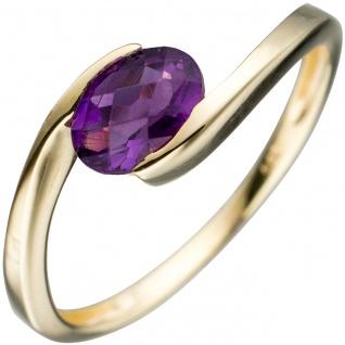 Damen Ring 333 Gold Gelbgold 1 Amethyst lila violett Goldring