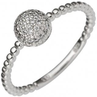 Damen Ring zart 585 Gold Weißgold 29 Diamanten Brillanten 0, 13ct. Weißgoldring