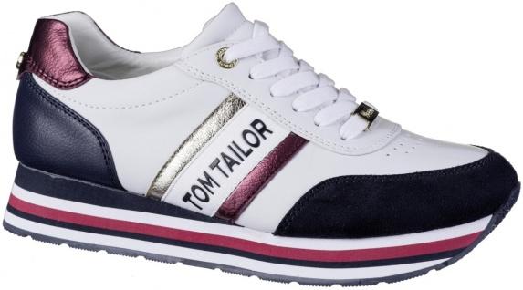 TOM TAILOR Damen Leder Imitat Sneakers egg, Meshfutter, weiches Fußbett